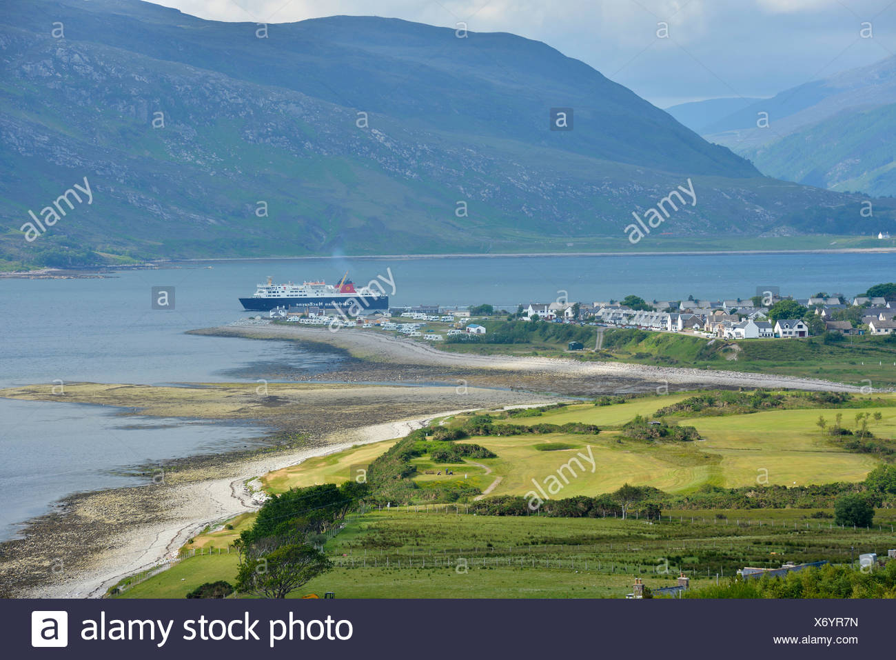 Ullapool with ferry, Loch Assynt, Scottish Highlands, Western Ross, Scotland, United Kingdom, Europe - Stock Image