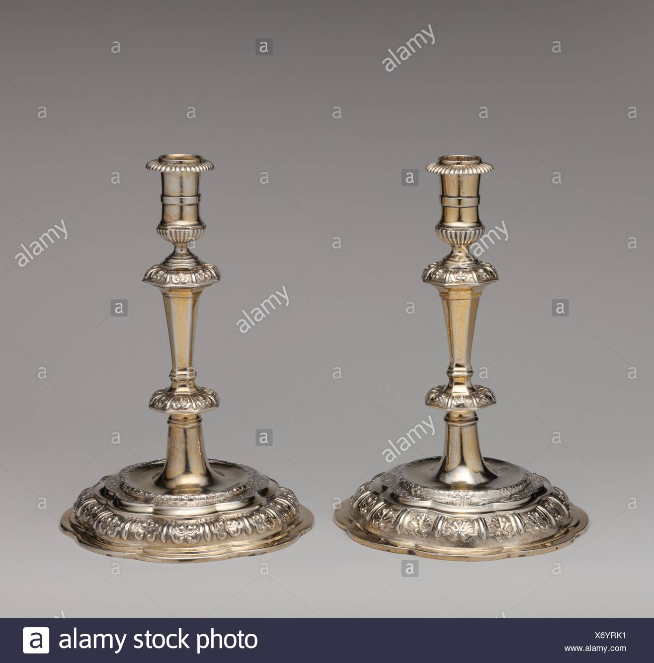 Candlestick (one of a pair). Maker: Master RW (Swedish, Upsala, early 18th century); Date: ca. 1710-20; Culture: Swedish, Uppsala; Medium: Silver, - Stock Image