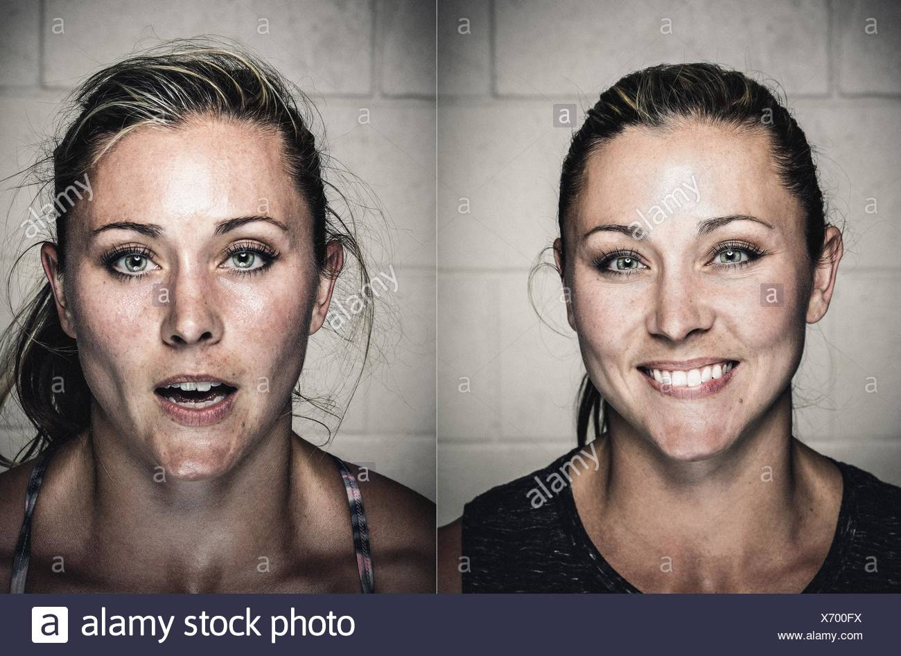 Portraits of young woman before and after workout - Stock Image