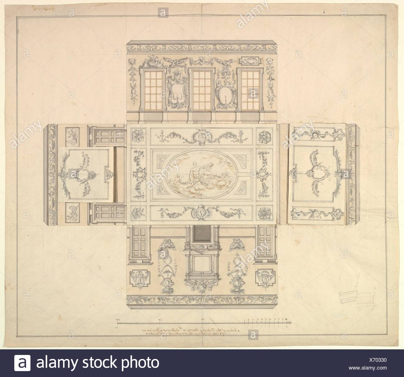 Dining Room at Kirtlington Park, Oxfordshire. Artist: John Sanderson (British, active from 1730, died 1774); Date: ca. 1747-48; Medium: Pen, brown - Stock Image