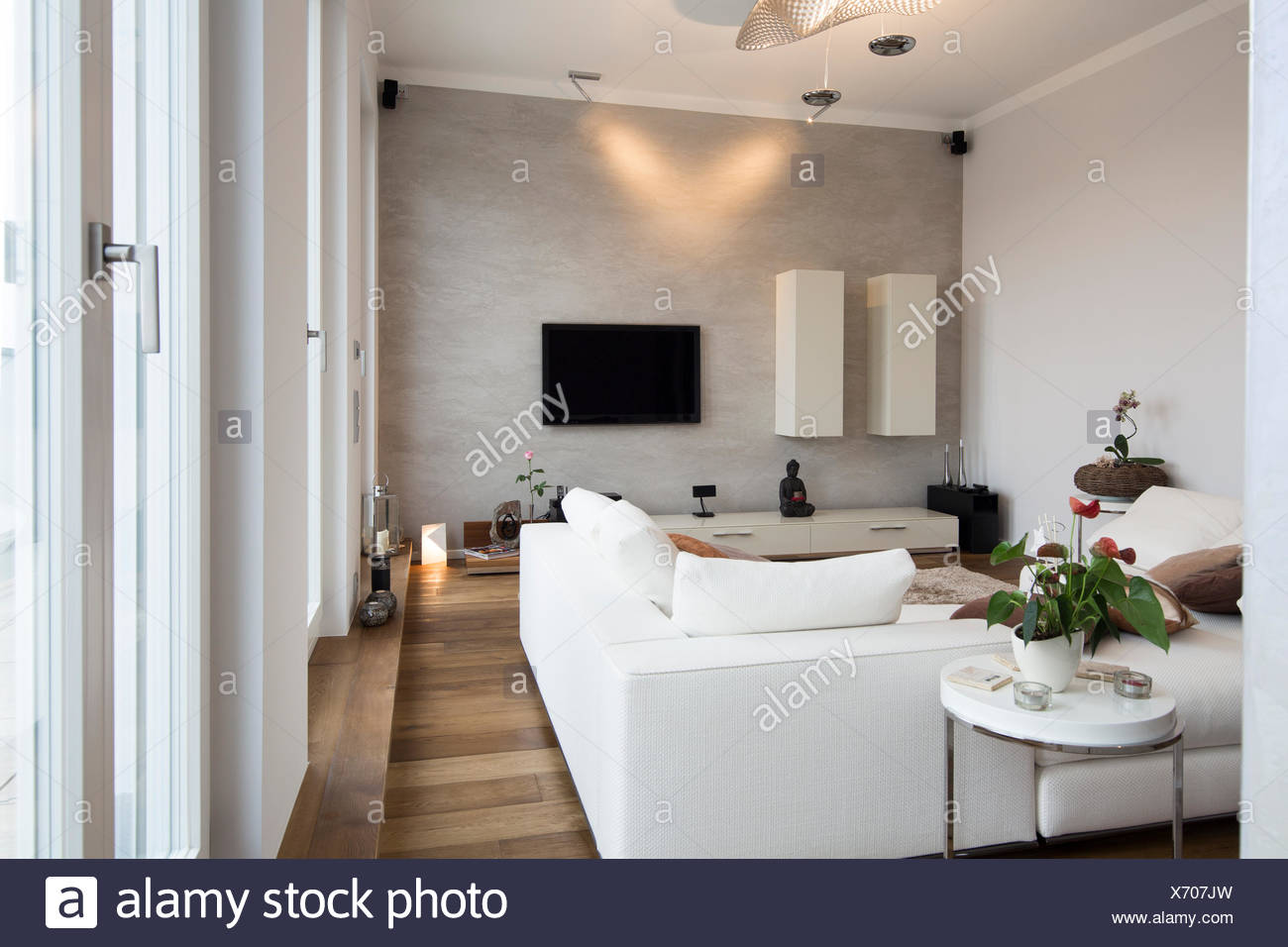 Interior Of Modern Flat Living Room With White Couch Stock Photo Alamy