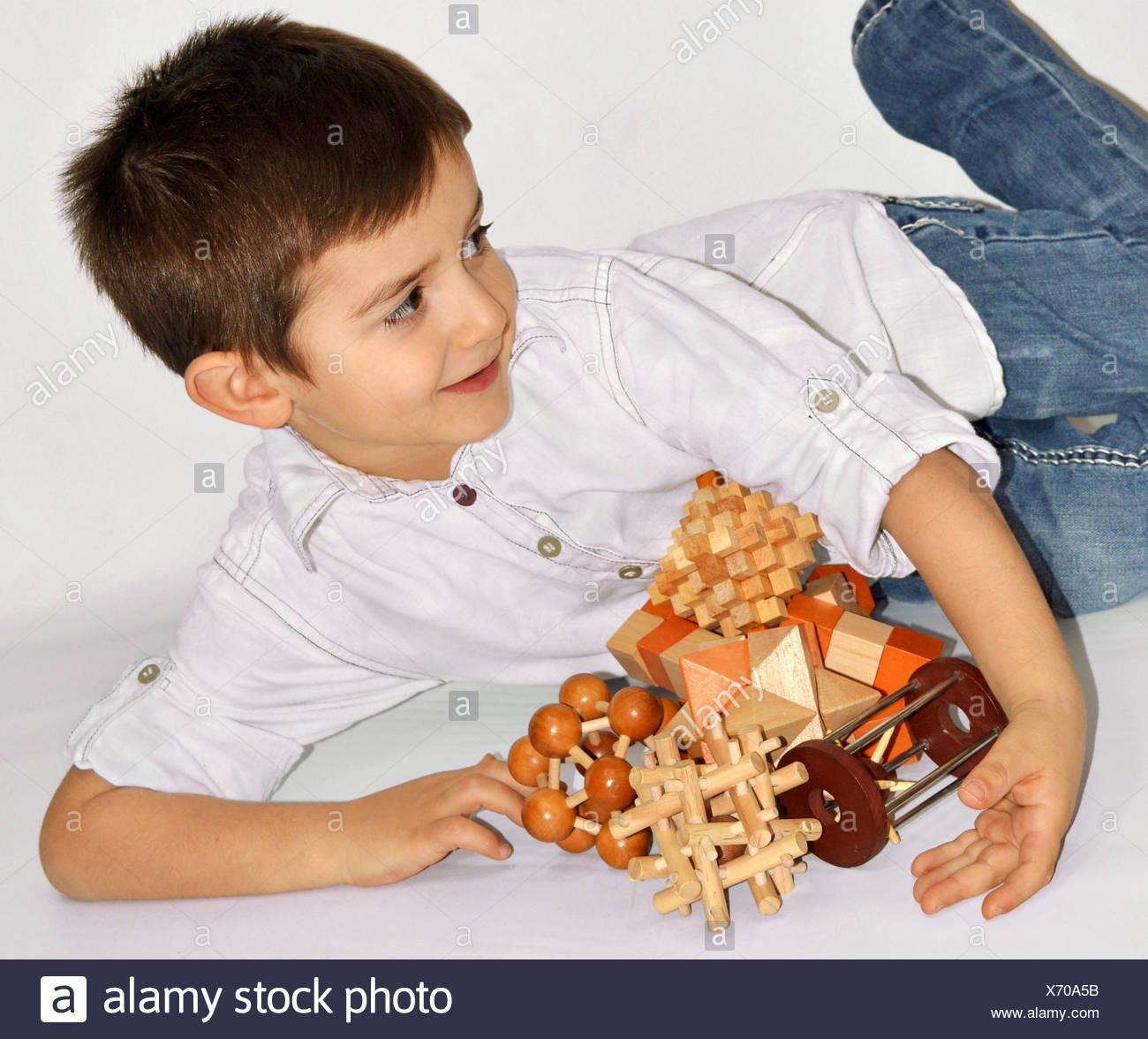 Wooden Brain Teaser - Stock Image