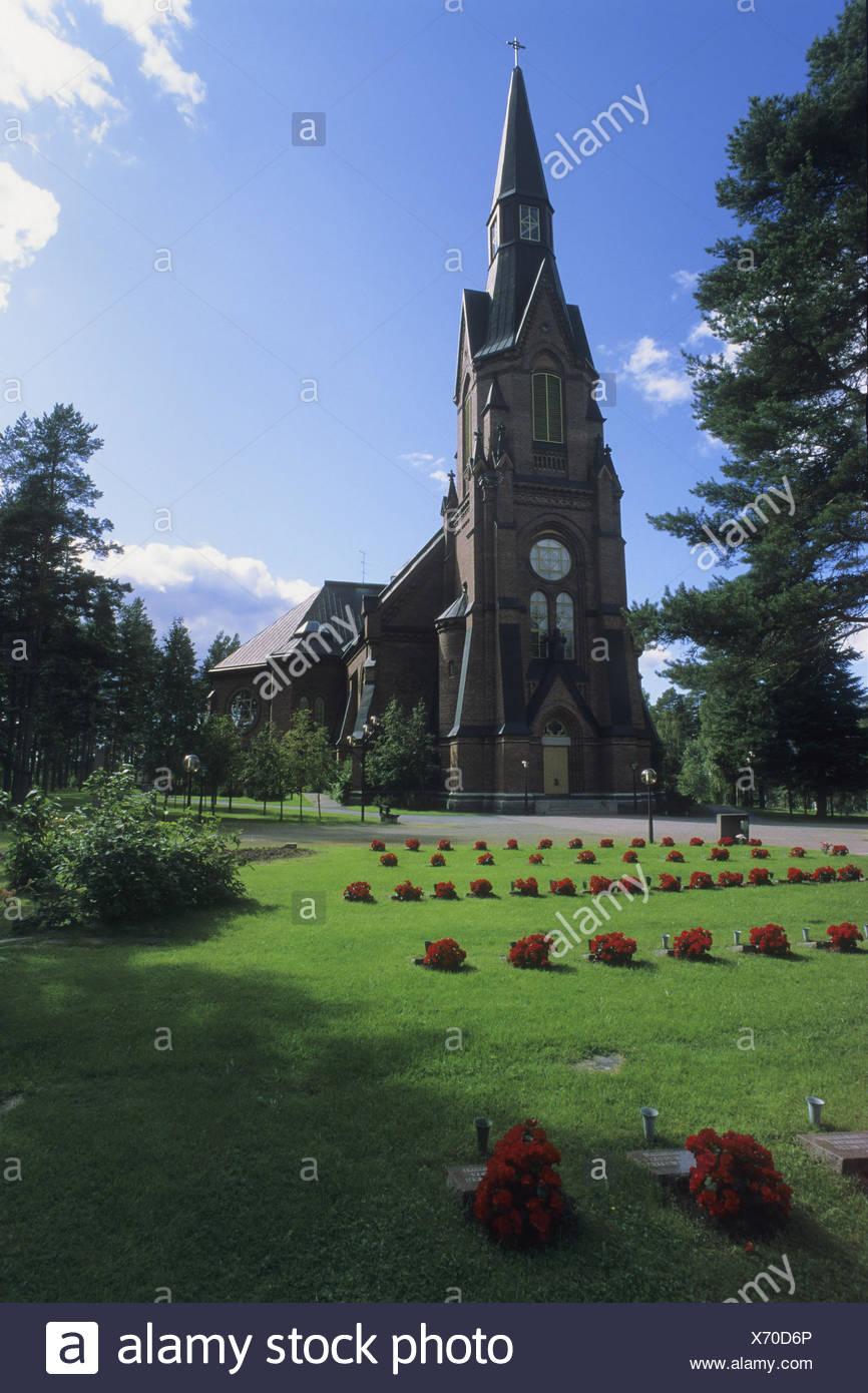 Church, cemetery, Finland, Rantasalmi, Saimaa lake, Stock Photo
