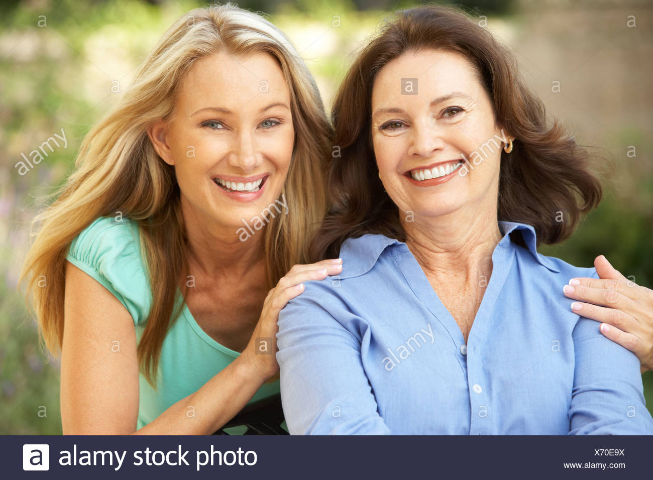Senior Woman With Adult Daughter Stock Photo