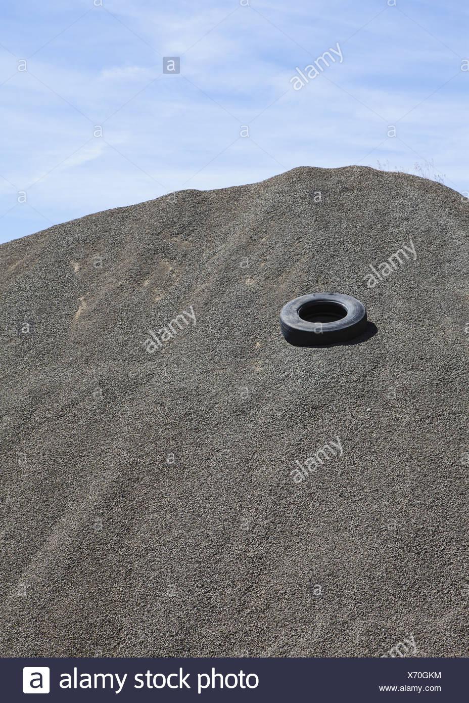 Oregon USA Gravel piles road maintenance construction - Stock Image