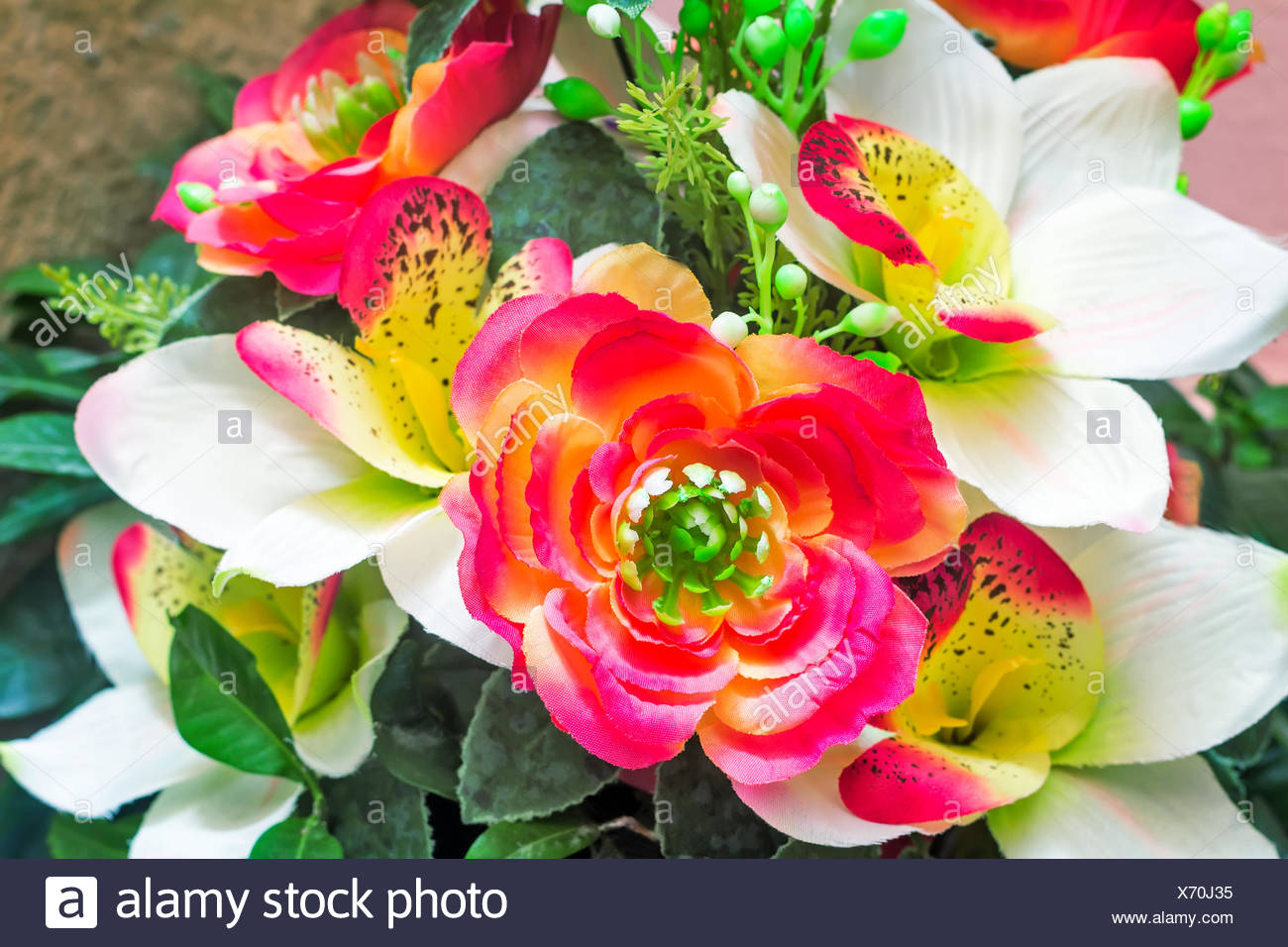 Artificial Flowers And Leaves Stock Photos Artificial Flowers And