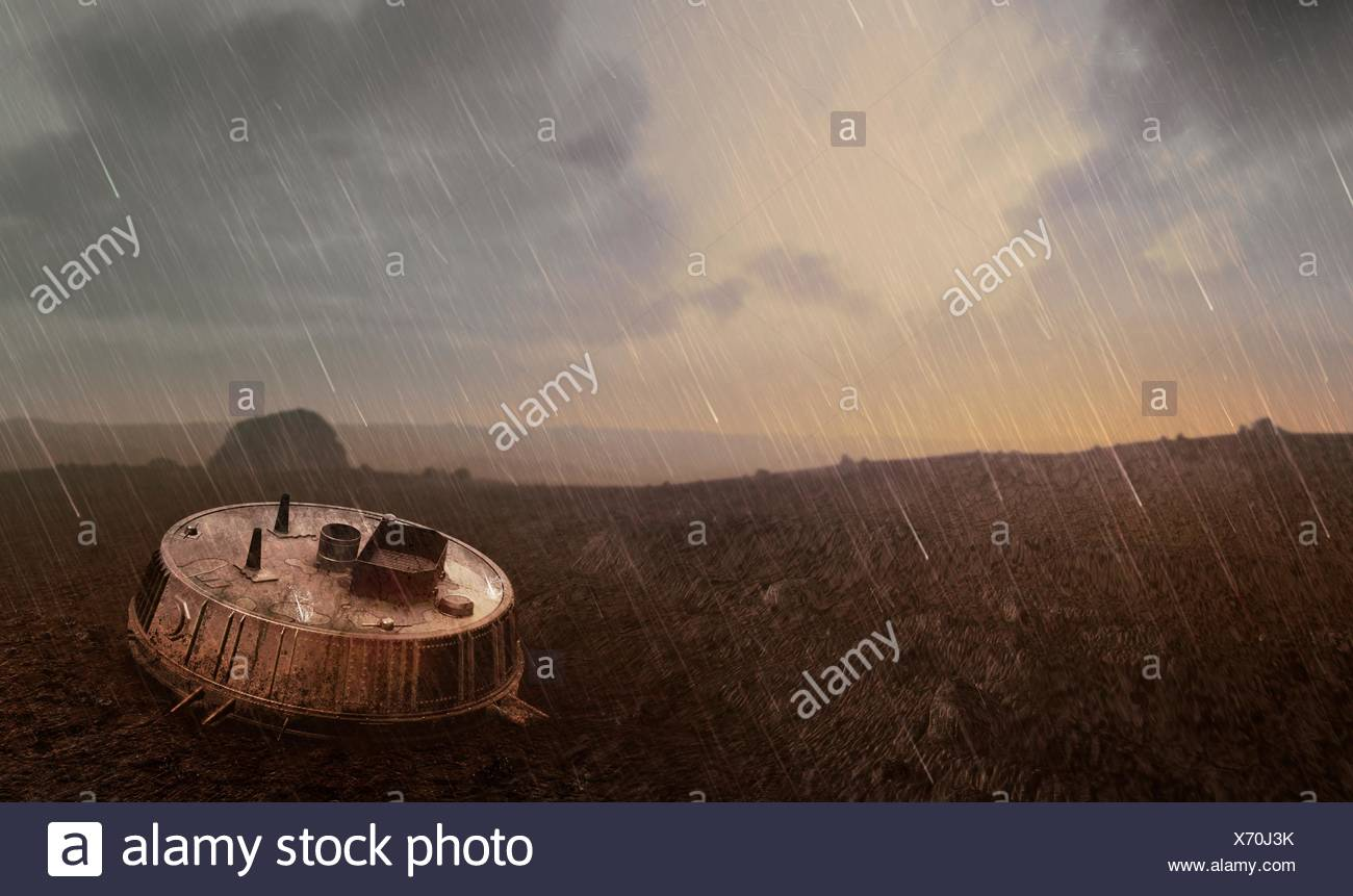 Huygens probe at Titan. Artwork of the Huygens probe on the surface of Titan, the largest moon of the ringed planet Saturn (seen in sky). Huygens was designed to survive a landing on either a solid or liquid surface, as the composition of Titan's surface was unclear. - Stock Image