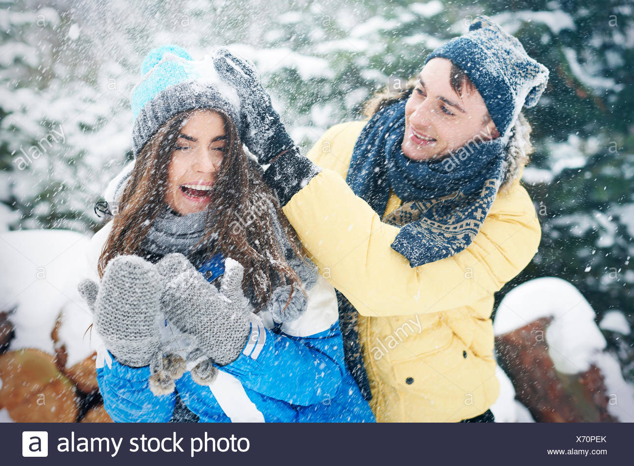 Snowball fight in winter make us happier. Debica, Poland - Stock Image