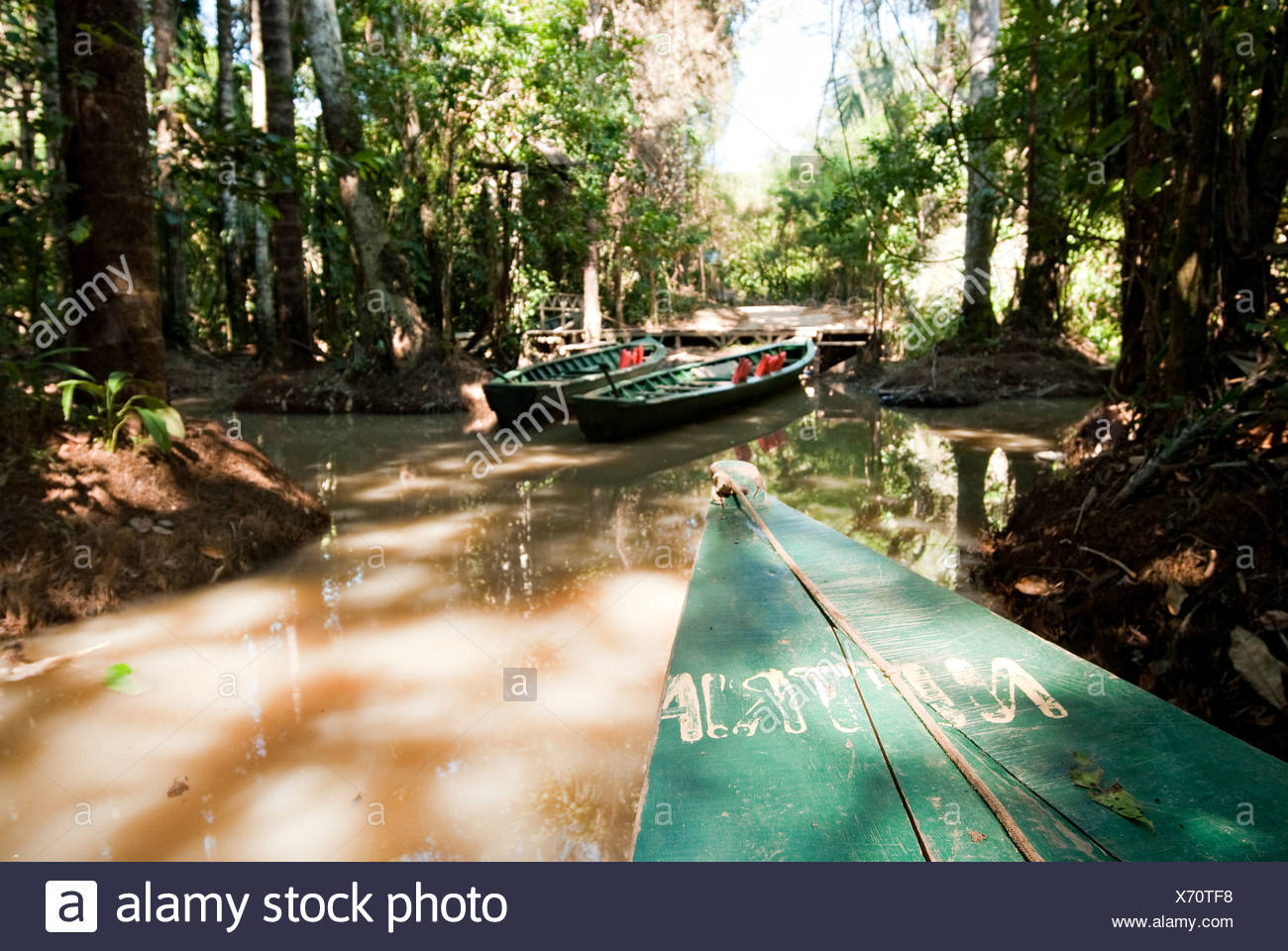A wooden canoe made of Eucalyptus tree floats in the amazon river and connecting tributary rivers in the rainforest. - Stock Image