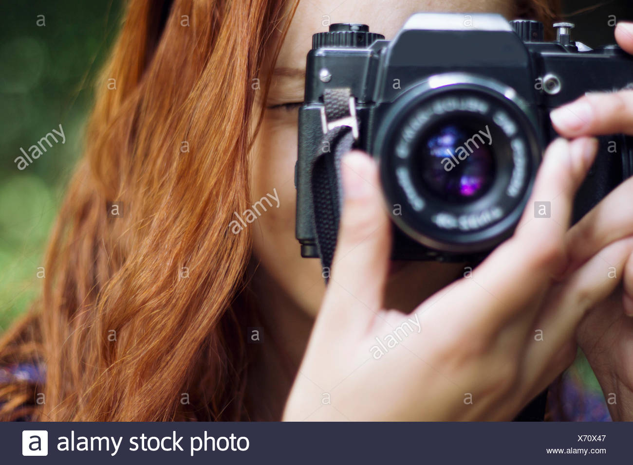 Close-Up Of A Female Photographer - Stock Image