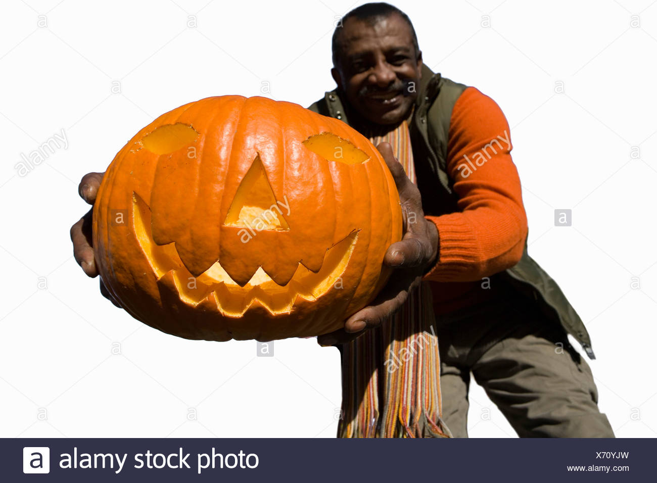 man holding pumpkin cut out stock images pictures alamy
