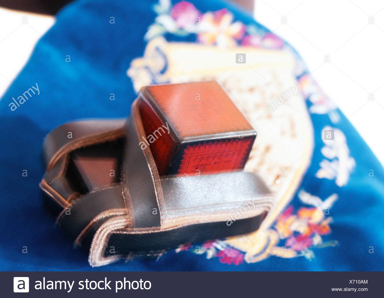 Teffilin, close-up - Stock Image