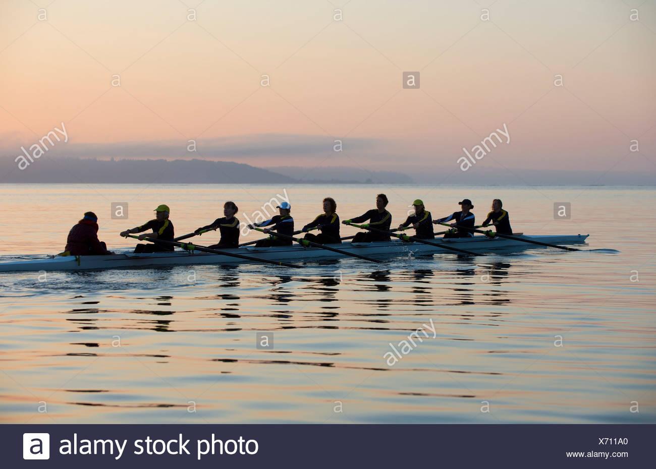 Nine people rowing - Stock Image