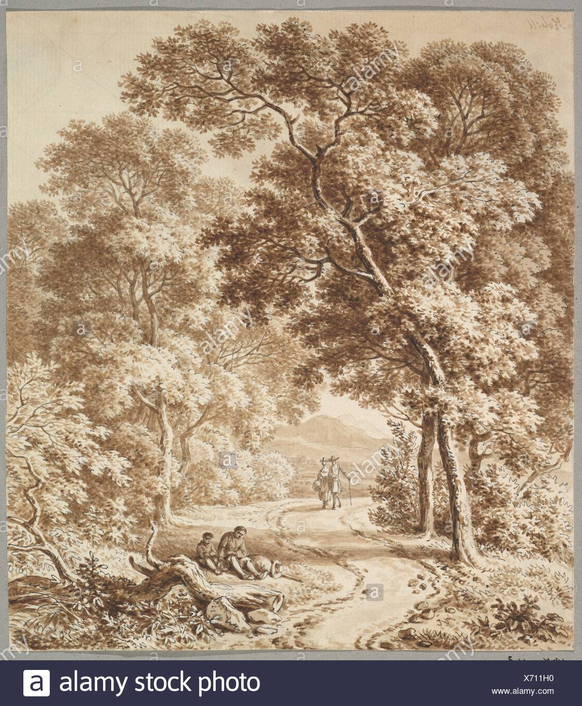 A Path Bordered by Trees with two Beggars and a Couple Strolling. Artist: Ferdinand Kobell (German, Mannheim 1740-1799 Munich); Date: late 18th - Stock Image