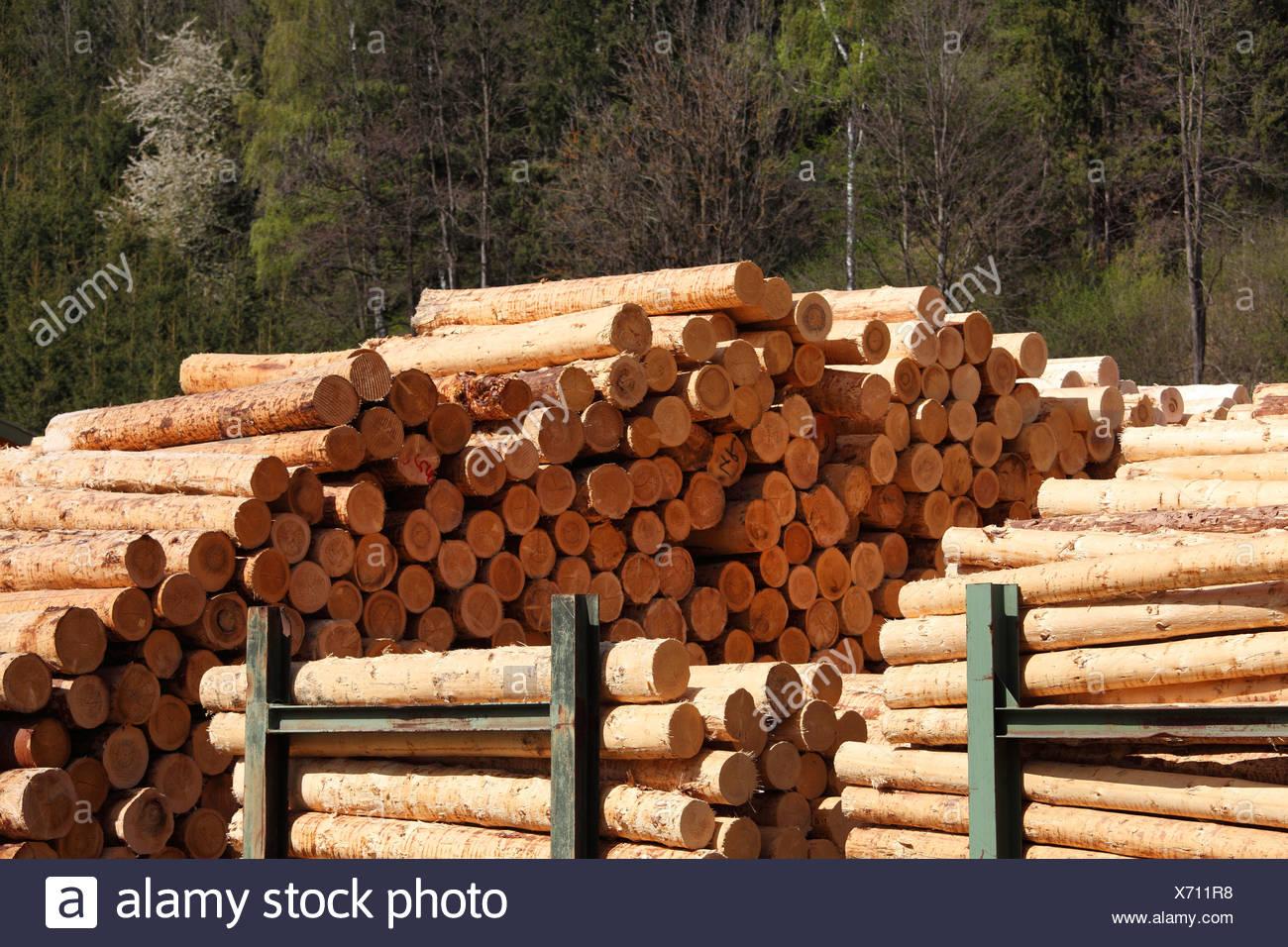 Stacked logs near Obdach, Upper Styria, Styria, Austria, Europe, PublicGround - Stock Image