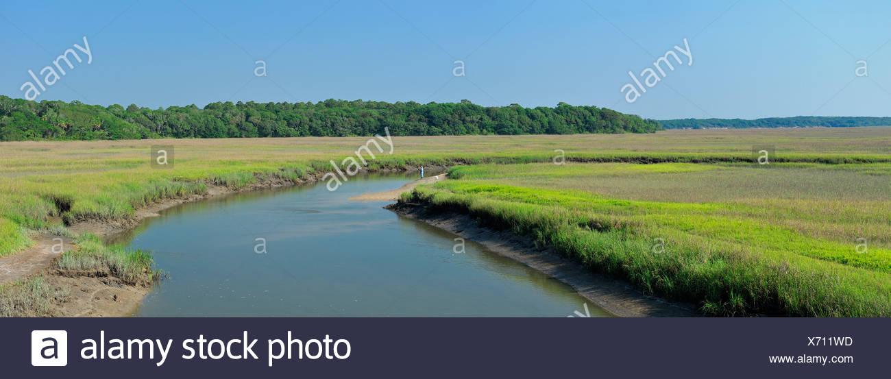 Fisher, Simpson Creek, Big Talbot Island, State Park, near Jacksonville, Florida, USA, United States, America, - Stock Image