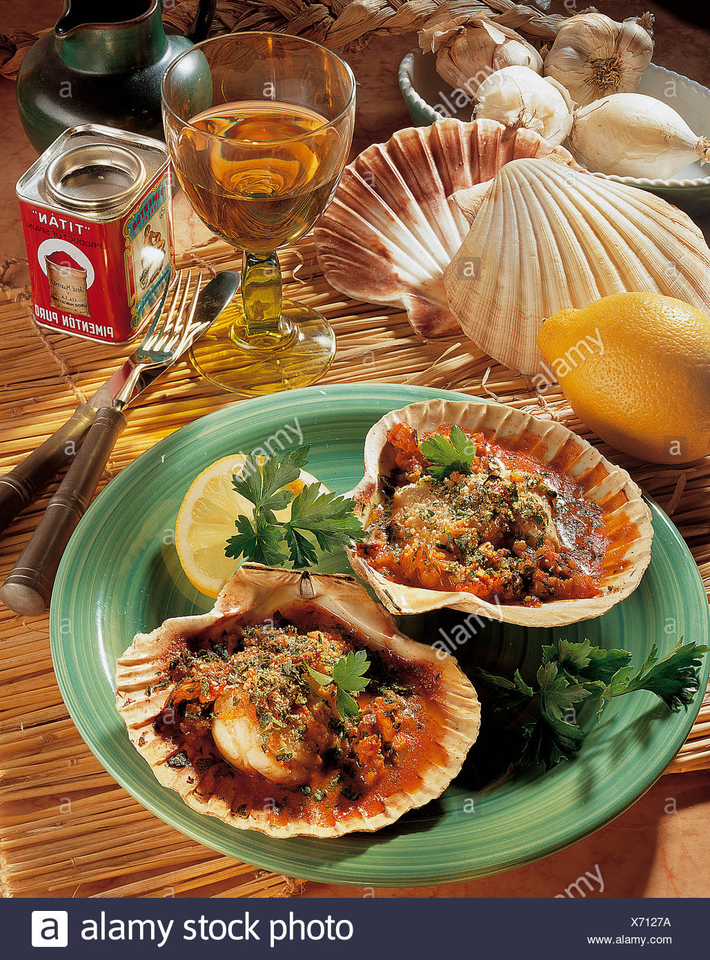 Scallop gratin, Spain, recipe available for a fee - Stock Image