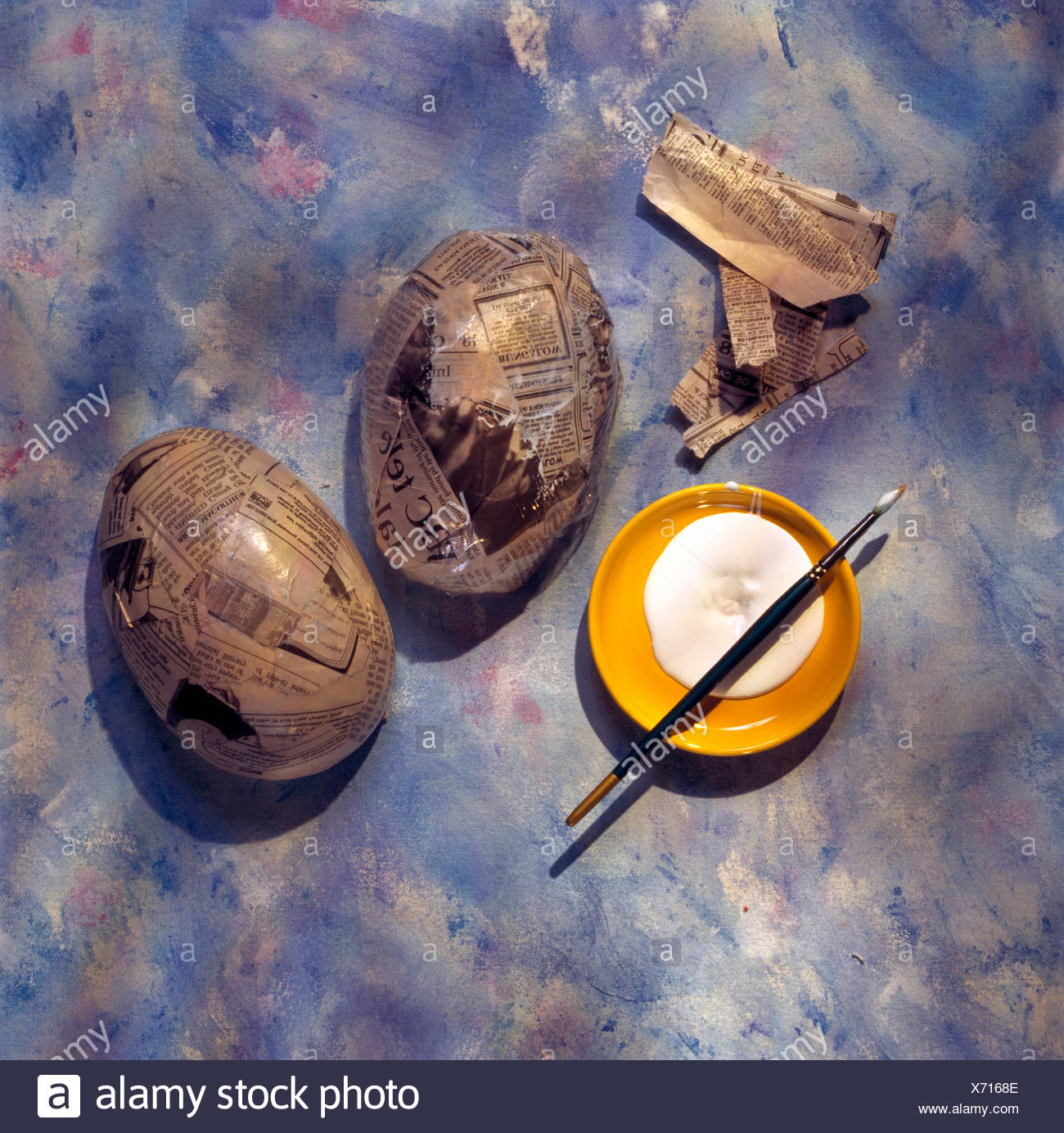 Close-up of materials for making a home made papier Easter egg - Stock Image