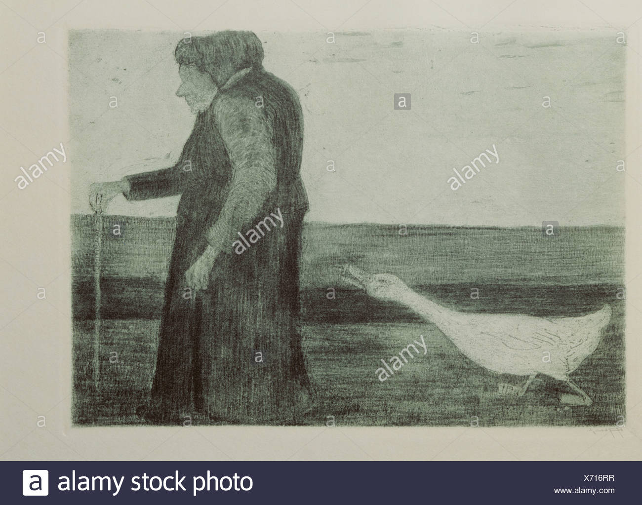 fine arts, Modersohn-Becker, Paula (1876 - 1906), grafik, 'Woman with goose', etching, aquatinta, 1902, Kunsthalle Kiel, , Artist's Copyright has not to be cleared - Stock Image