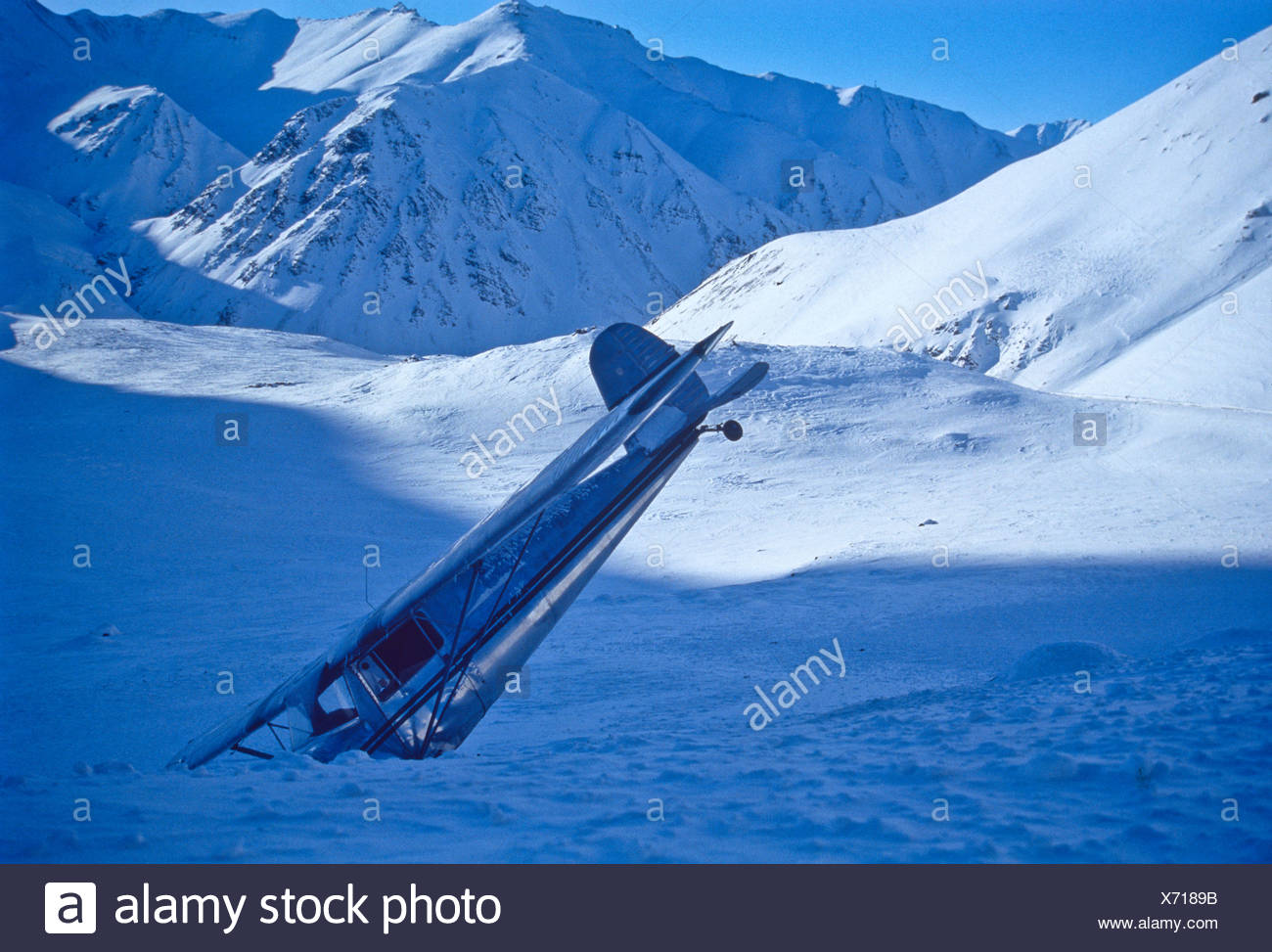 Wrecked Jessna, Atigun Pass, Alaska - Stock Image