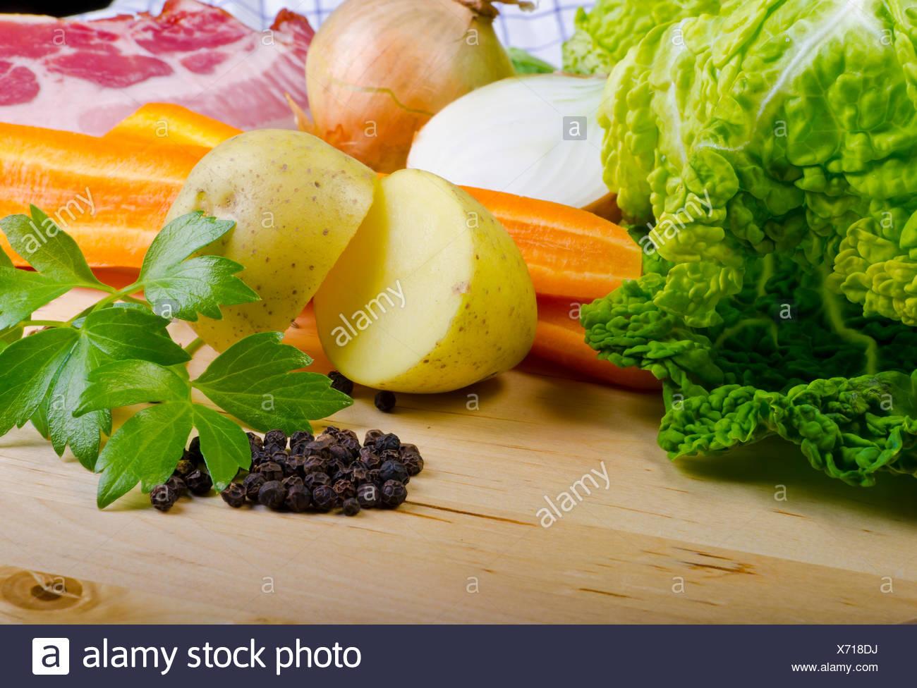 food aliment vegetable cabbage savoy broths soups potato potatoe food aliment eco kitchen cuisine vegetable cabbage vital savoy - Stock Image