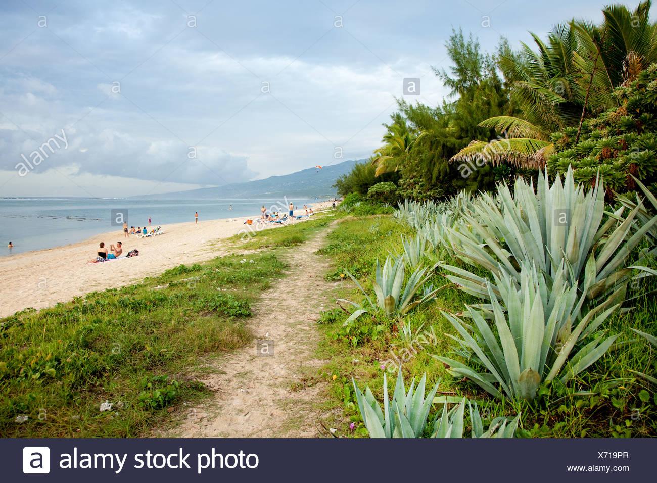 Beach at Saline-les-Bains, La Reunion island, Indian Ocean - Stock Image