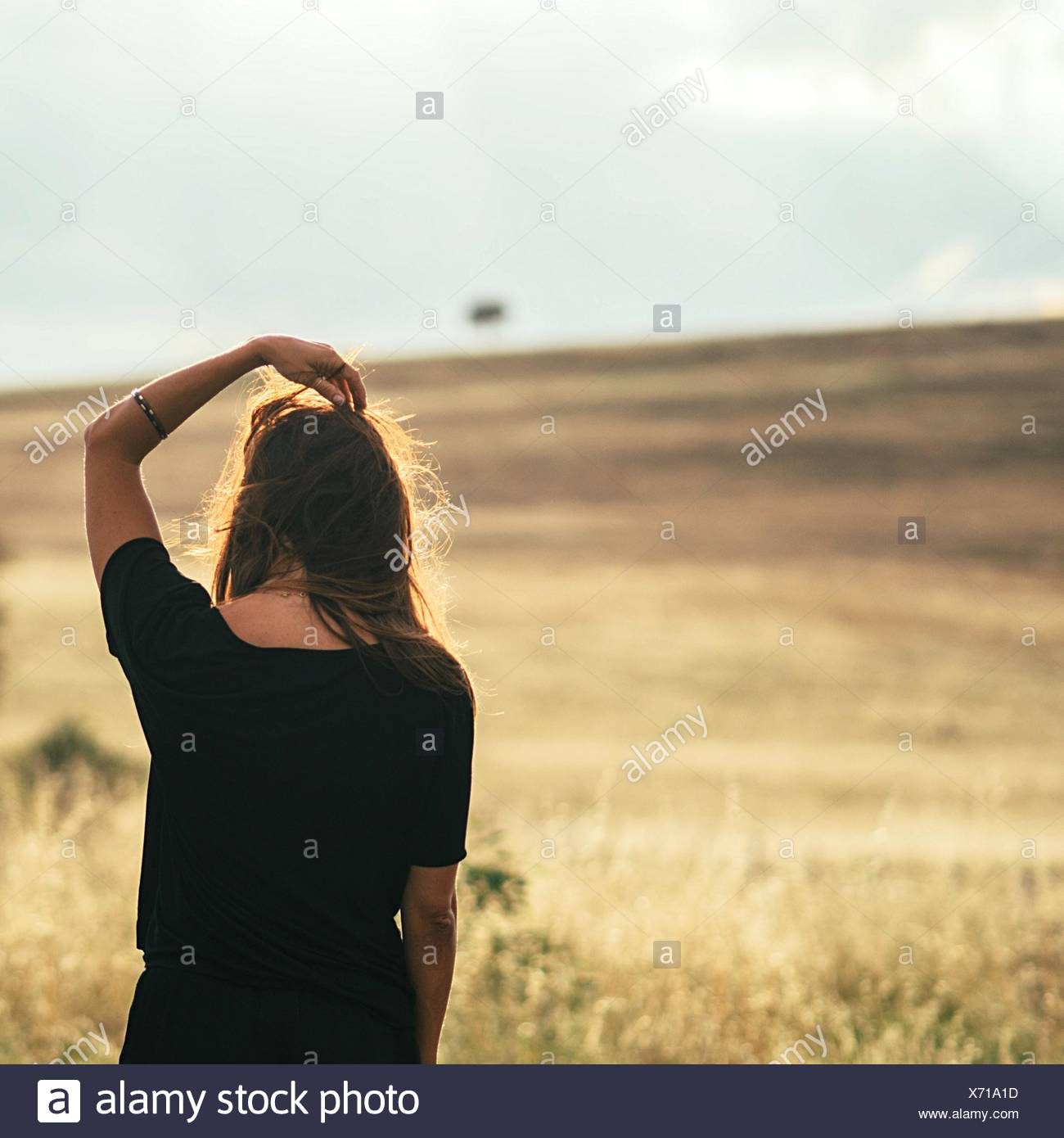 Woman Overlooking Countryside Landscape - Stock Image