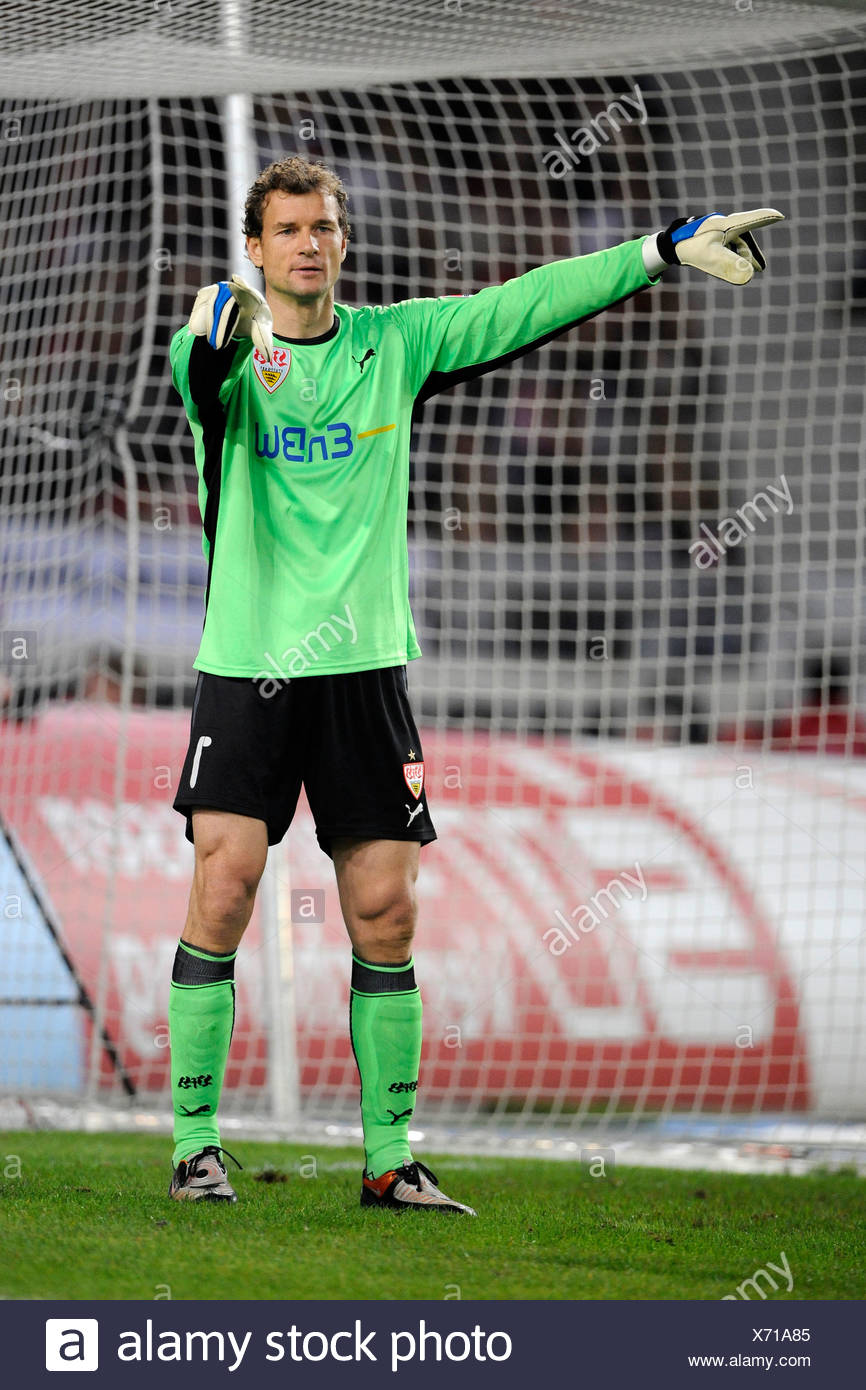 Jens Lehmann, goal keeper, VfB Stuttgart, giving orders to the defence - Stock Image