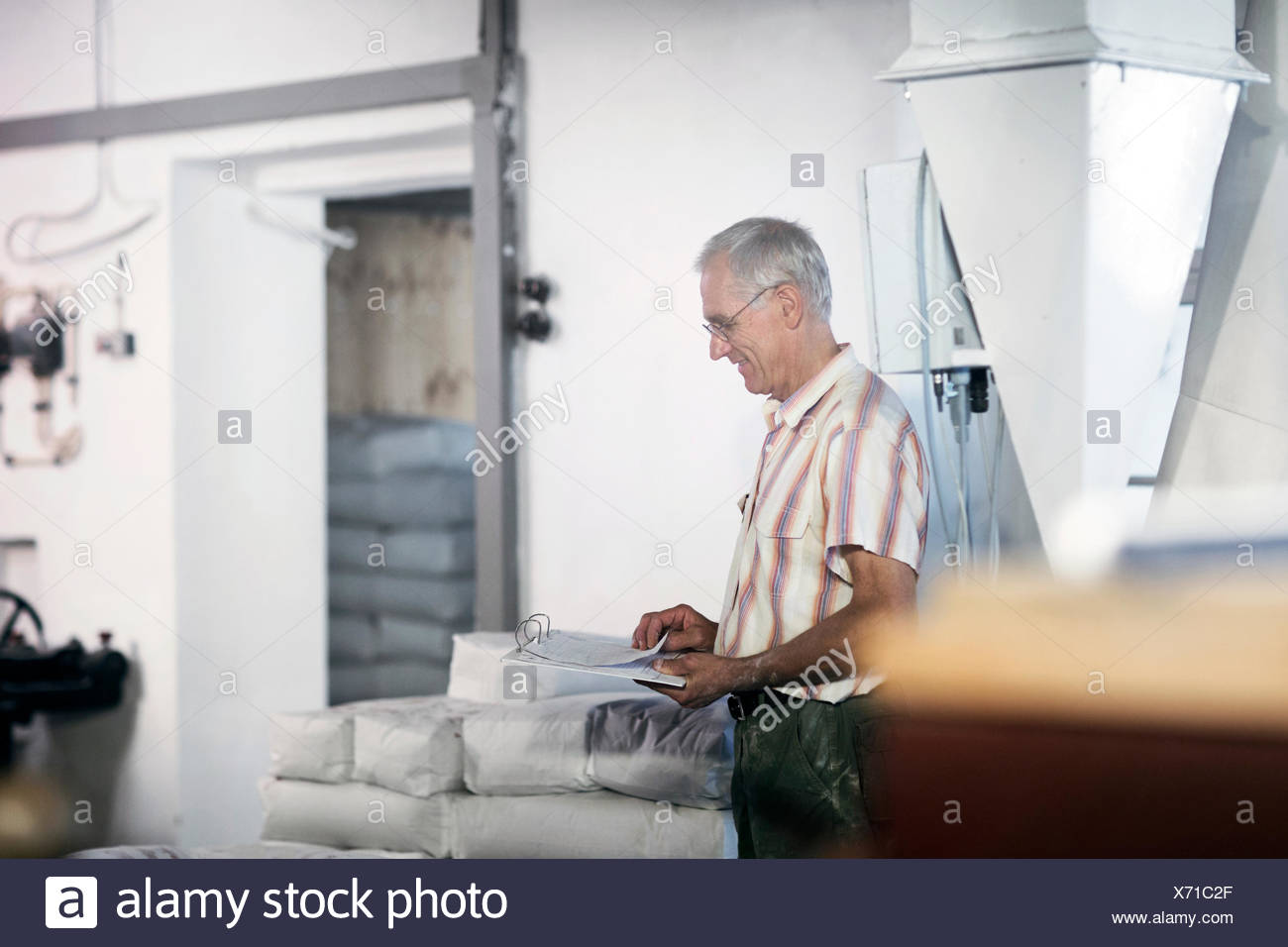 Male miller stock taking sacks of flour at wheat mill - Stock Image