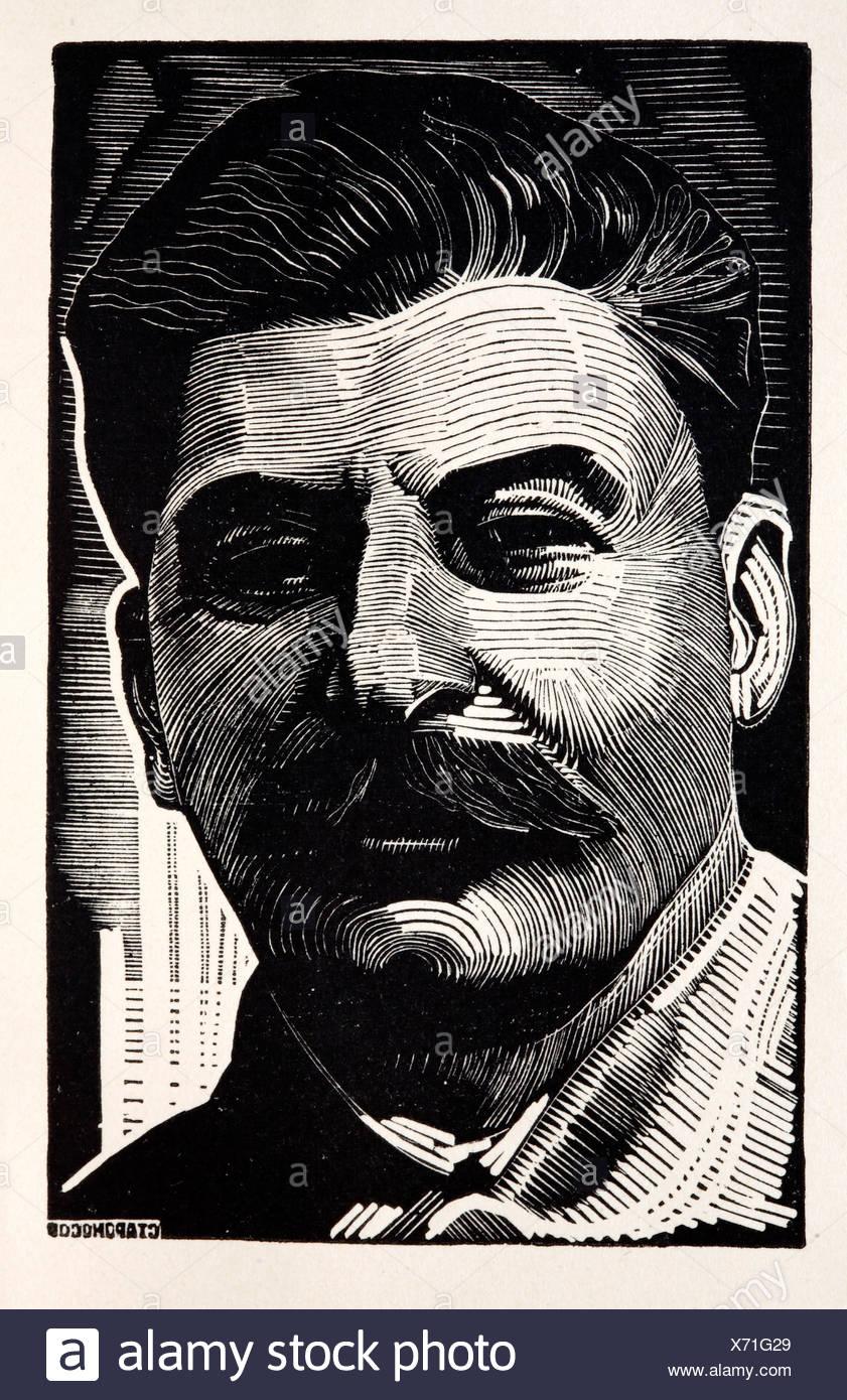 Stalin stalinist stalinism communist communism thirties report induatrialization Russia Russian 1930s illustration Man Soviet - Stock Image
