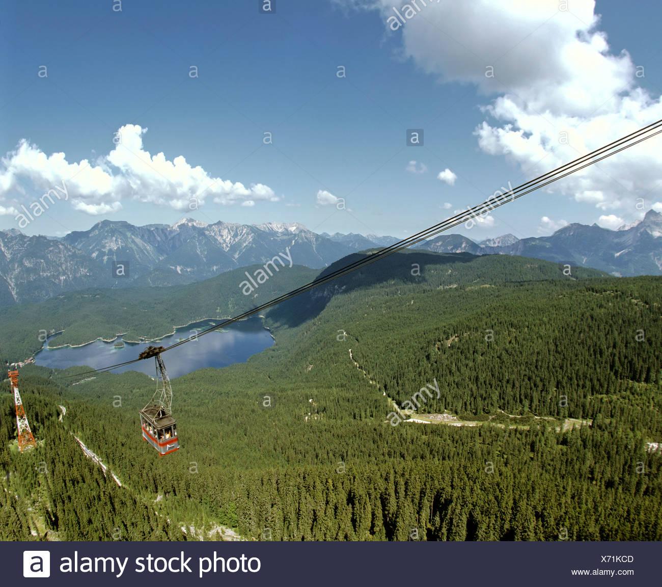 Gondola lift up the Zugspitze, Germany's highest mountain, Wetterstein Range, Werdenfels Region, Upper Bavaria, Bavaria, German - Stock Image