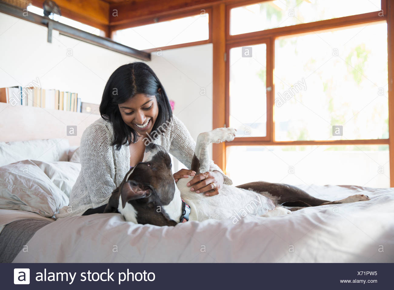 Smiling woman petting dog on bed - Stock Image
