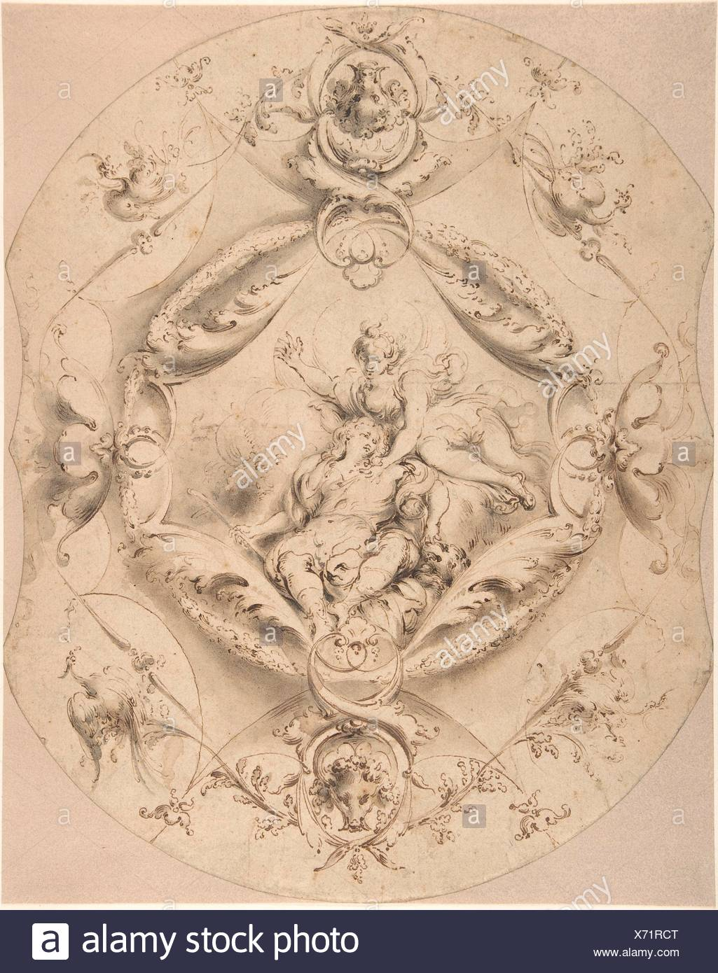 Ornamental Design with Diana and Endymion in a Central Cartouche. Artist: Attributed to Jacob Denys (Flemish, 1644-?1708); Date: n.d; Medium: Pen and - Stock Image