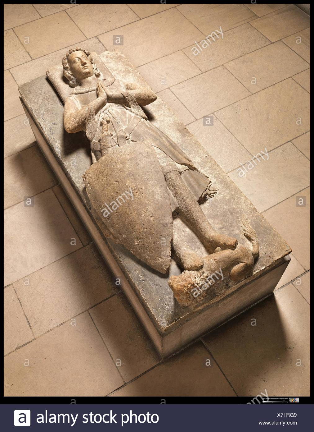 A Knight of the d´Aluye Family. Date: after 1248-by 1267; Geography: Made in Loire Valley, France; Culture: French; Medium: Limestone; Dimensions: 13 - Stock Image