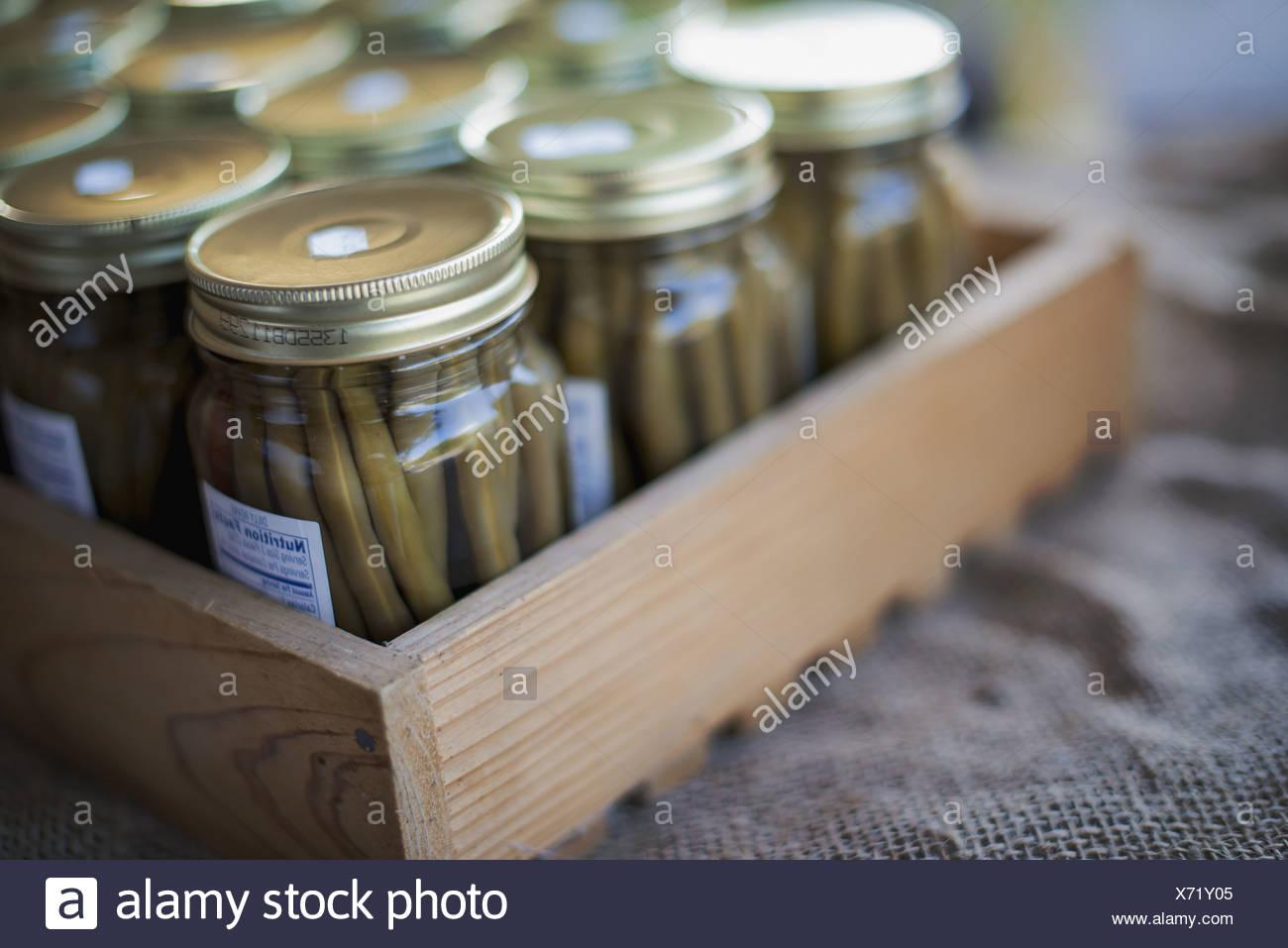 Woodstock New York USA Jars of Organic Green Beans - Stock Image
