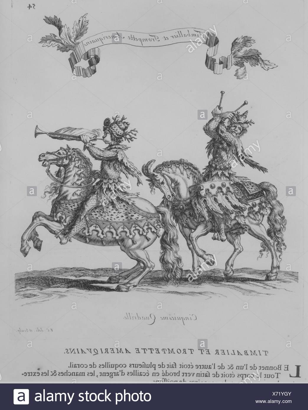 Courses de Testes et de Bagues Faittes par Roy et par les Princes et Seigneurs de sa Cour, en l'année 1662. Author: Written by Charles Perrault - Stock Image