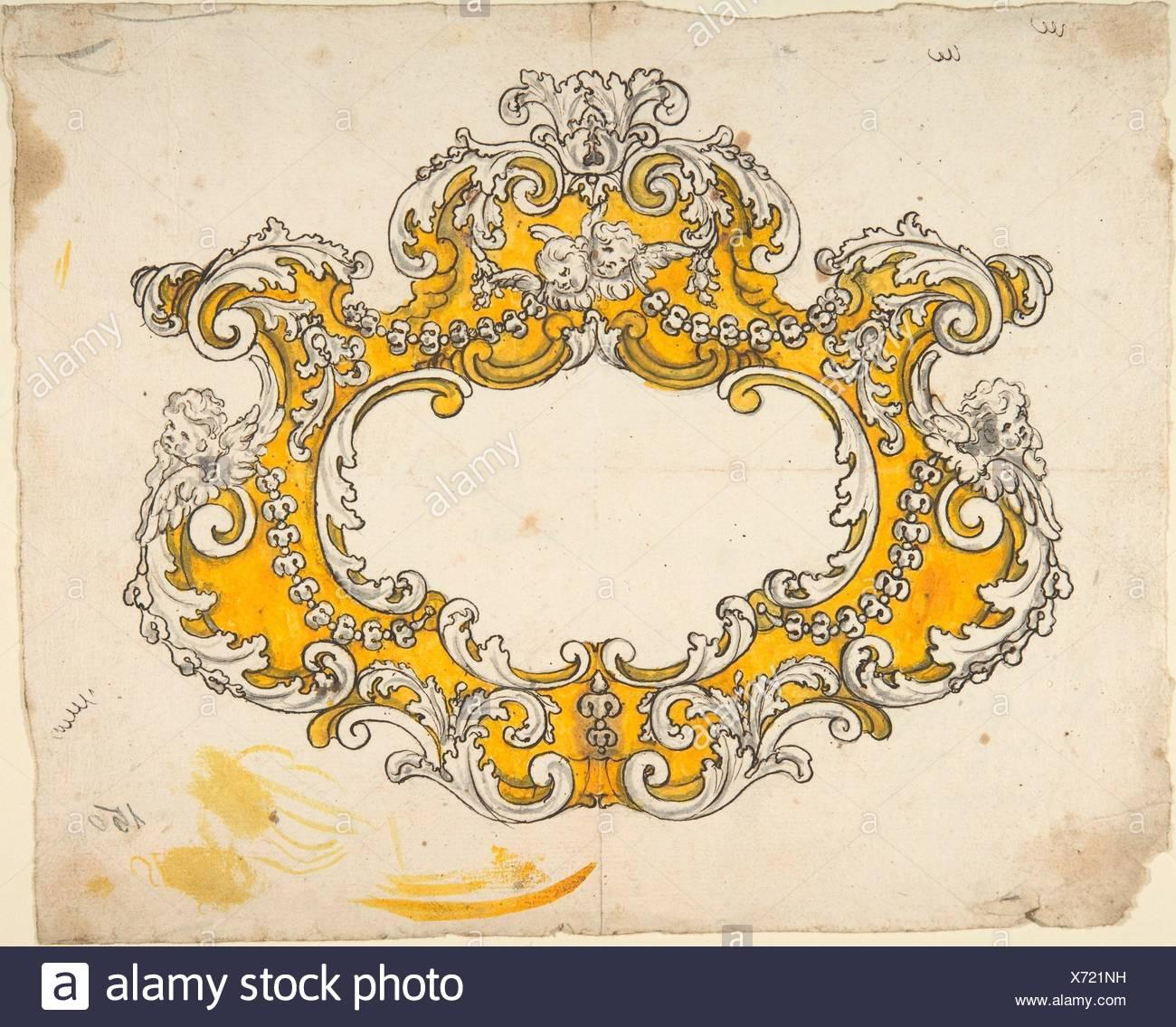 Rococo Cartouche with Cherubs  Artist: Anonymous, Italian