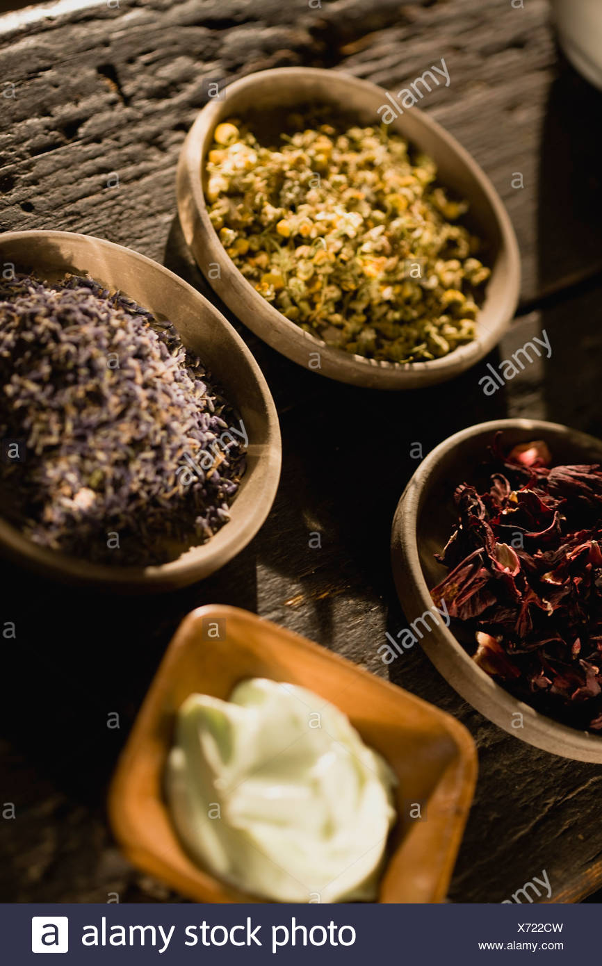 Dried herbs and creme - Stock Image
