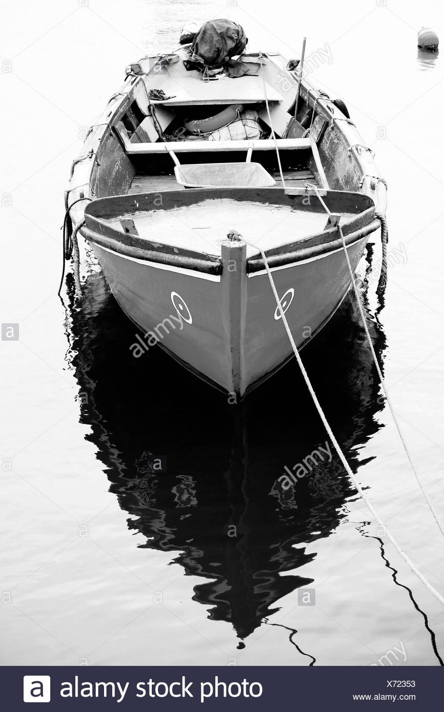 Vertical view of a traditional portuguese fishing boat, anchored on the docks. - Stock Image