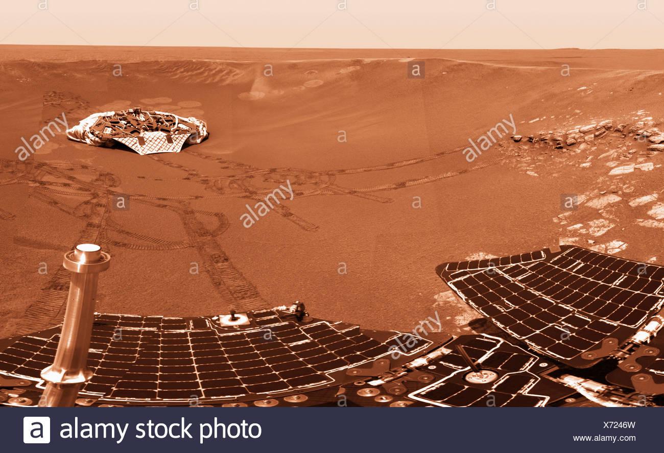 Mars Exploration Rover Opportunity's Solar Panels and Landing Platform, Mars - Stock Image