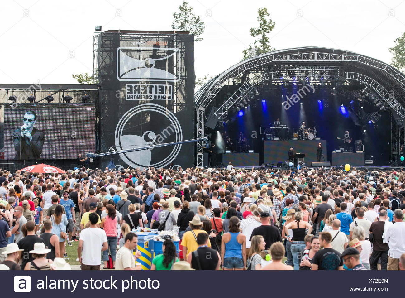 British synth-pop band Hurts performing live at Heitere Open Air in Zofingen, Aargau, Switzerland, Europe - Stock Image