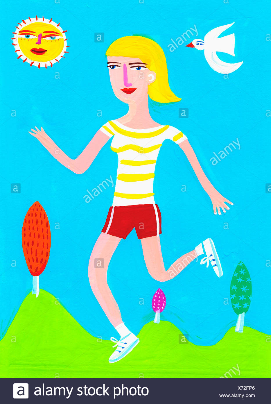 Woman running on sunny day - Stock Image