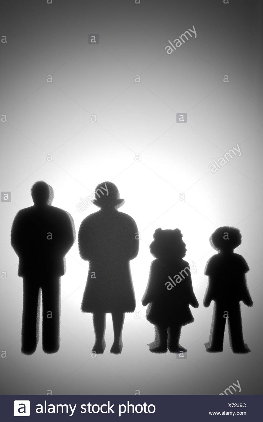 Colorful Family Shaped Cut Outs - Stock Image