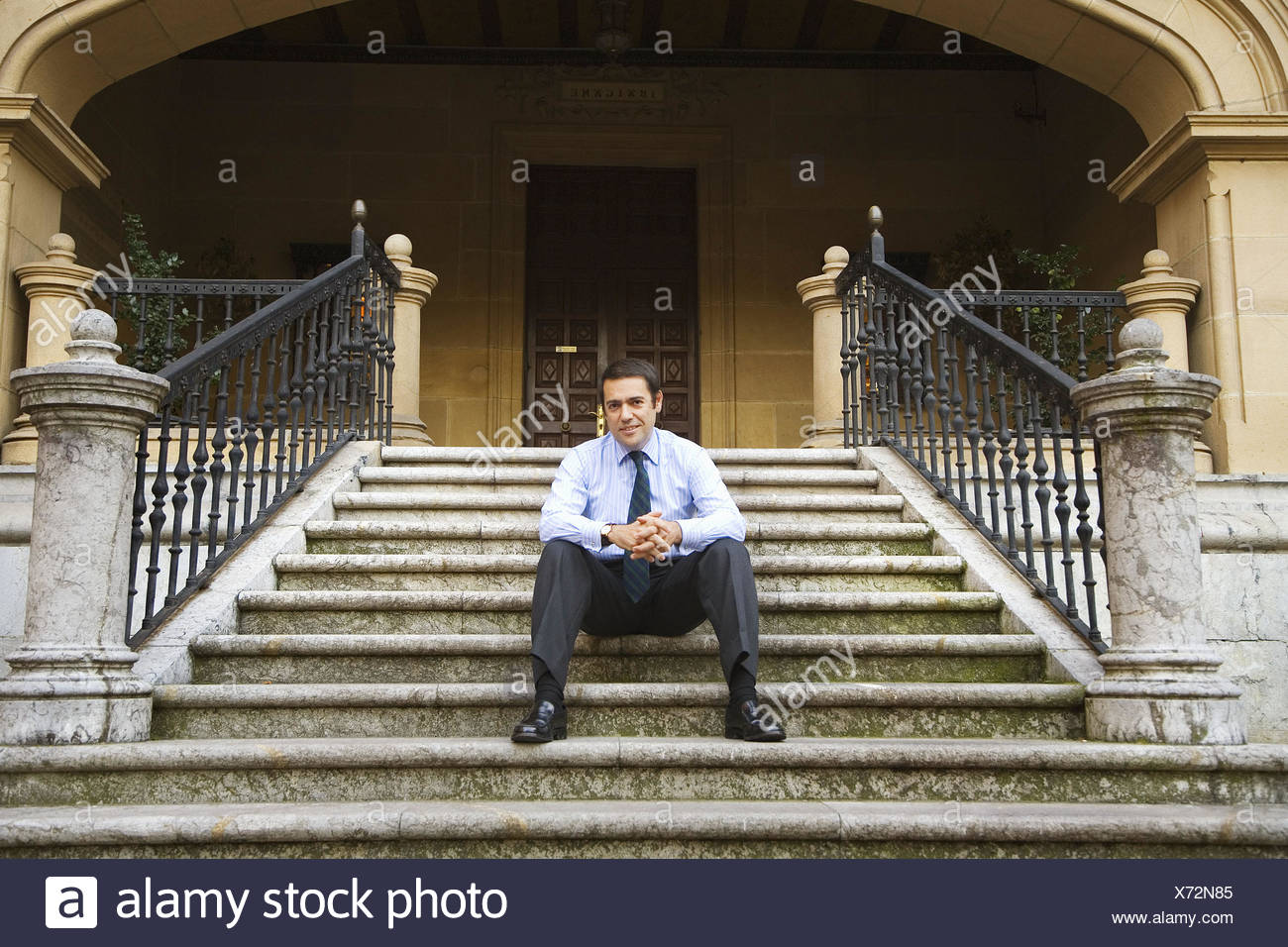 Fernando Garcia Macua, president of Athletic Club football club at Ibaigane Palace (currently the headquarters of the club), - Stock Image