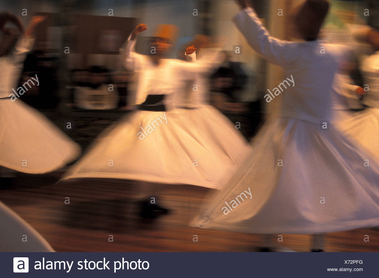 The Whirling Dervishes Perform Sema Galata Mevlevihanesi Istanbul Stock Photo
