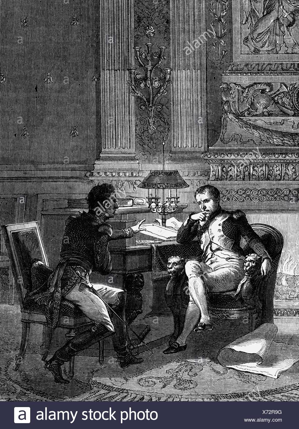 Foy, Maximilien Sebastien, 3.2.1775 - 28.11.1825, French general, reporting to Emperor Napoleon I about the situation at  the Lines of Torres Vedras, 1811, wood engraving, 19th century, , Additional-Rights-Clearances-NA - Stock Image