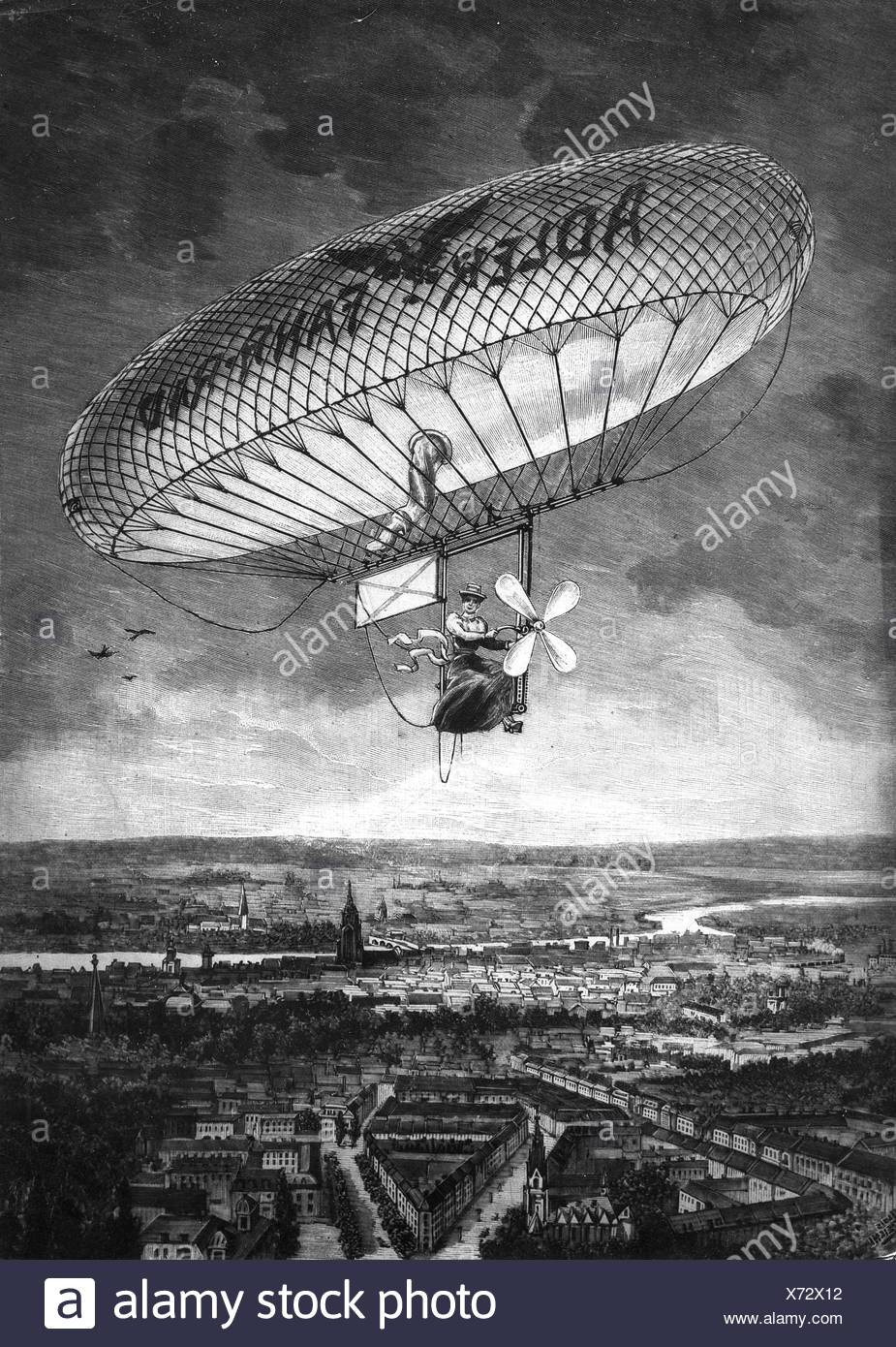 Paulus, Kaethe, 22.12.1868 - 31.7.1935, German aeronaut, half length, in balloon driven like a bicycle above Frankfurt, after sketch by A.Reichl, wood engraving, 1898, Additional-Rights-Clearances-NA - Stock Image