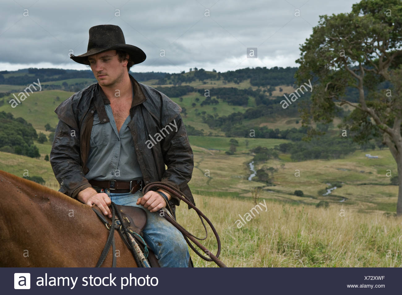 Man on horse in countrside - Stock Image