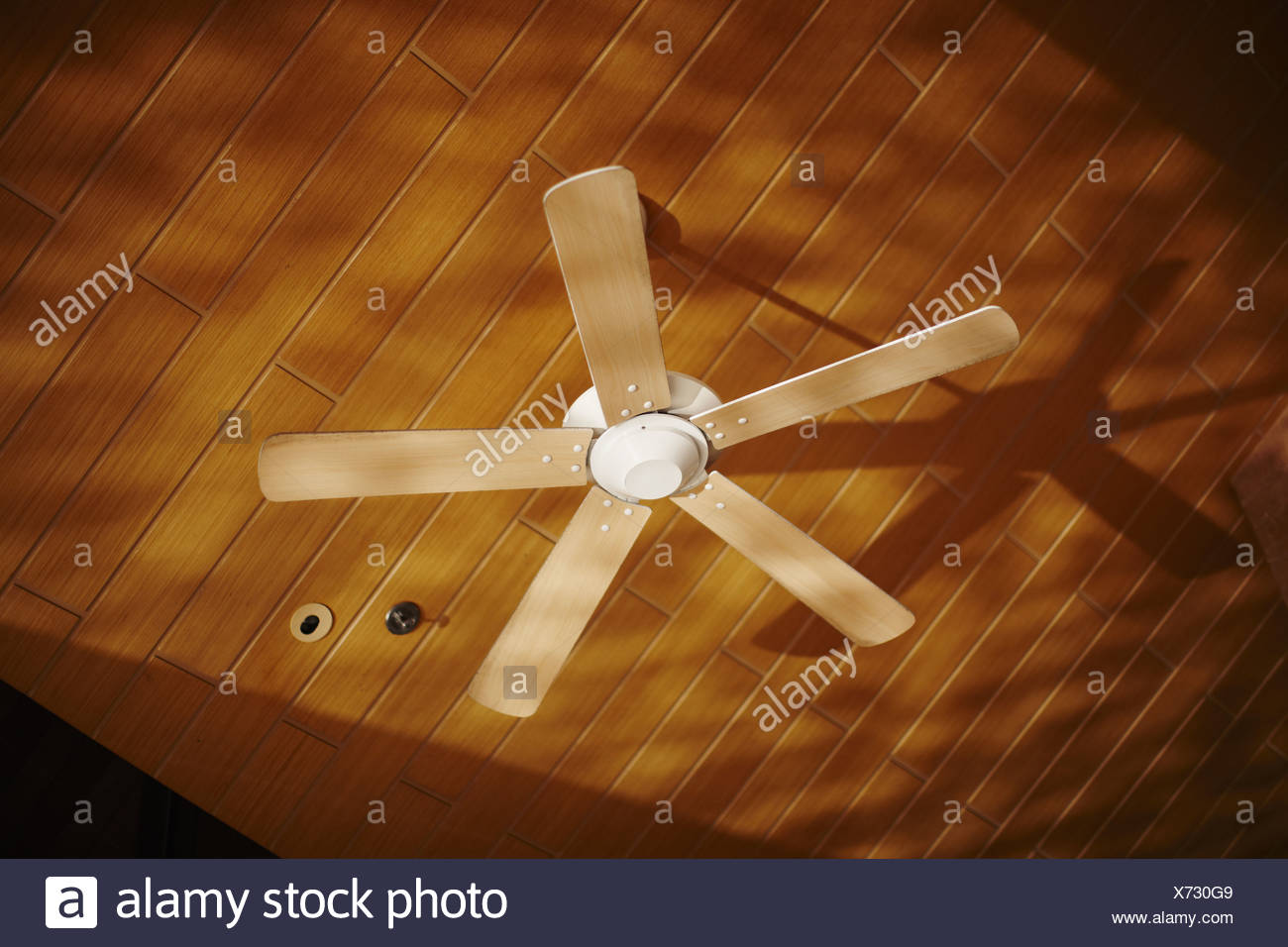 Wooden ceiling fan casting shadows Stock Photo