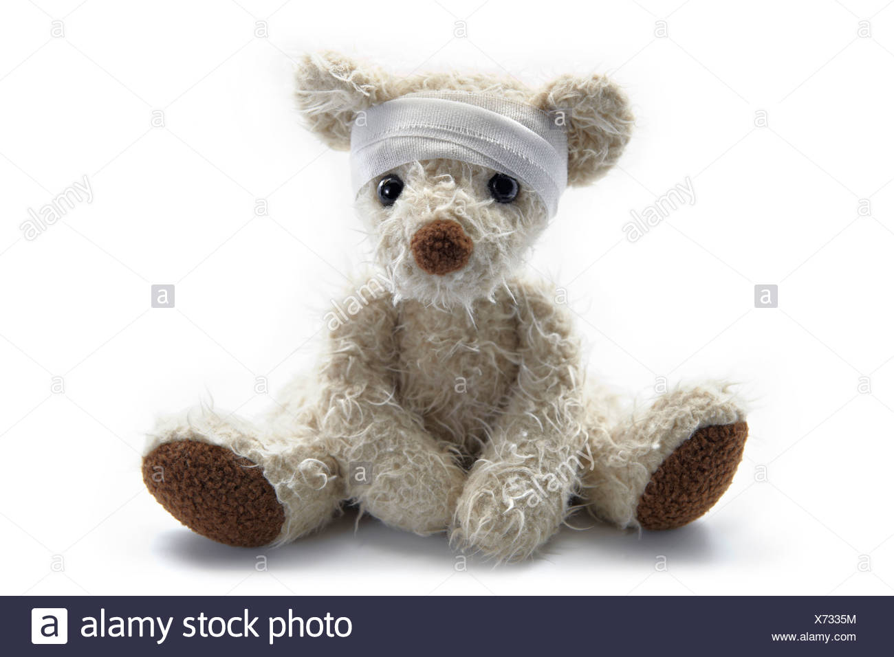 Close-up of a sick teddy bear with bandage around head sitting against white background - Stock Image